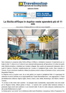 La Sicilia all`Expo in duplice veste spenderà più di 11