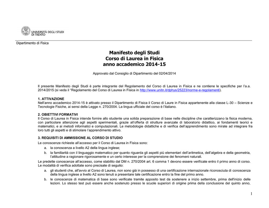 Unitn Calendario Accademico.Manifesto Degli Studi Corso Di Laurea In Fisica Anno Accademico