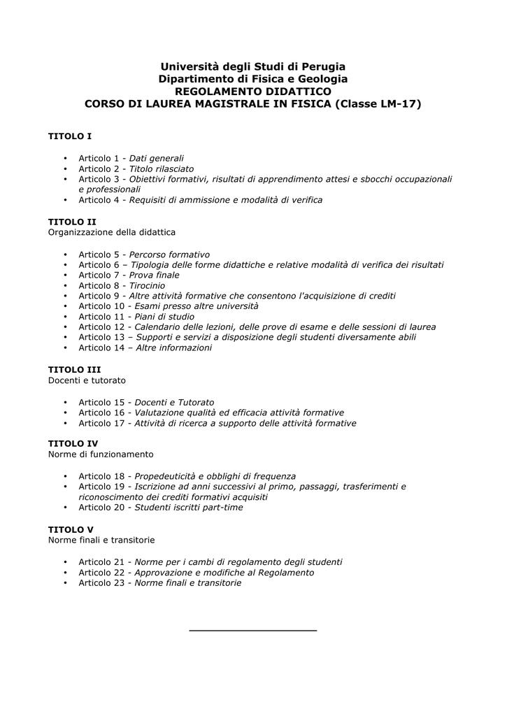 Calendario Esami Unipg Economia.Regolamento Lm17 Laurea Magistrale In Fisica