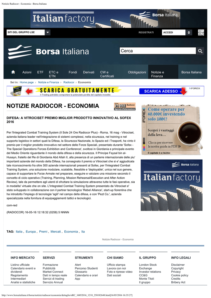 Borsa Italiana Calendario.Notizie Radiocor Economia Borsa Italiana