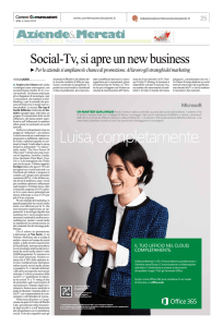 Social-Tv, si apre un new business