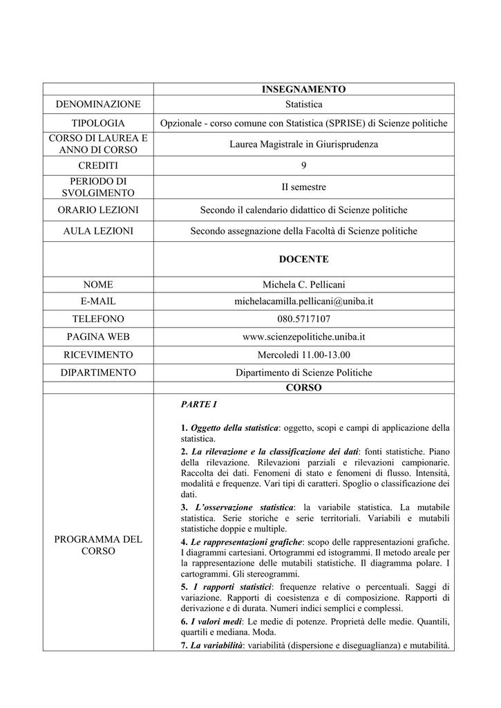 Calendario Lezioni Uniba.Programma Statistica Lex 2012 13