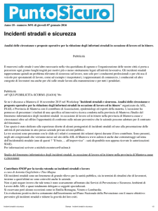 Stampa - Incidenti stradali e sicurezza
