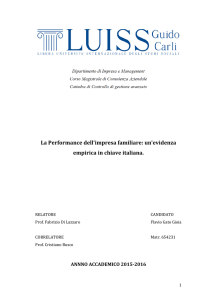 La Performance dell`impresa familiare: un`evidenza empirica in