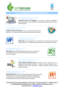 Corsi di INFORMATICA CON WINDOWS 7