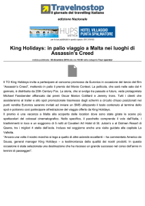 King Holidays: in palio viaggio a Malta nei luoghi di Assassin`s Creed
