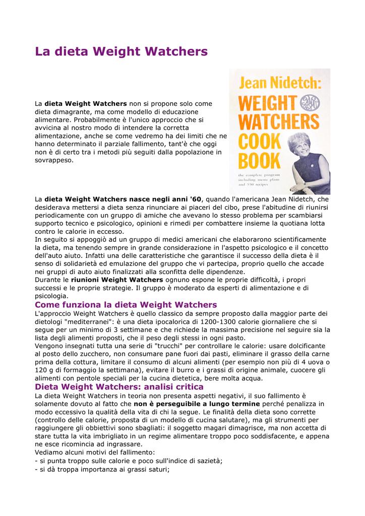como funciona la dieta de weight watchers