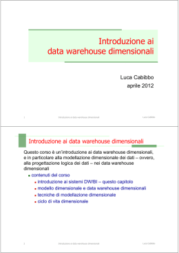 Introduzione ai data warehouse dimensionali