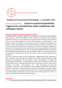 programma conversazioni - Institute of Constructivist Psychology