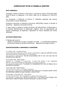 Curriculum (Italiano) - MEMOTEF Sapienza University of Rome