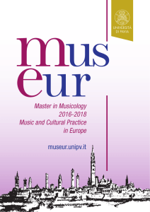 eurMaster in Musicology 2016-2018 Music and Cultural Practice in