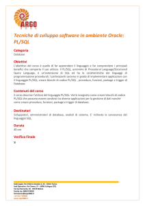 Tecniche di sviluppo software in ambiente Oracle: PL/SQL