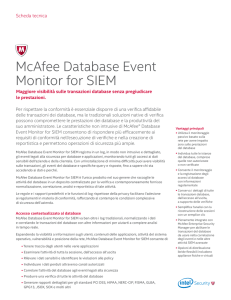 McAfee Database Event Monitor for SIEM Scheda Tecnica