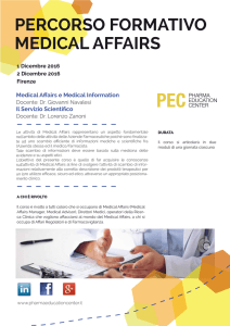 PERCORSO FORMATIVO MEDICAL AFFAIRS