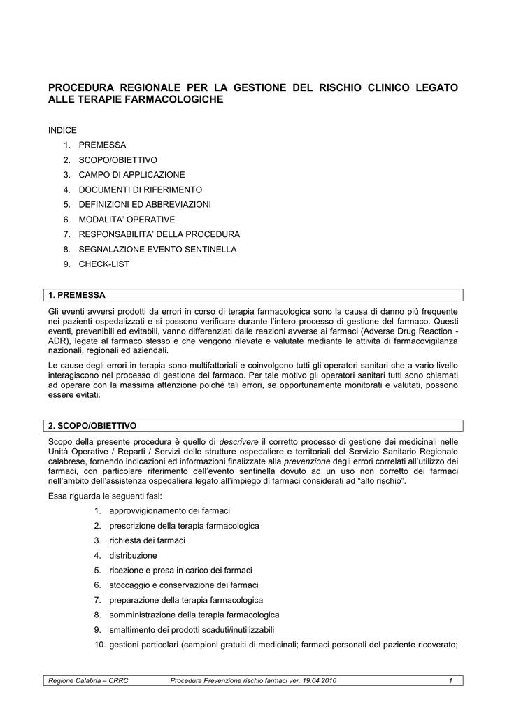 Rischio Clinico Somministrazione Farmaci.Gestione Del Rischio Clinico Da Farmaci Procedura Regionale