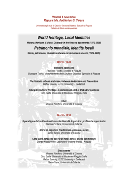World Heritage, Local Identities Patrimonio mondiale, identità locali