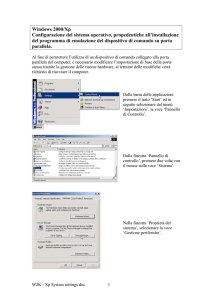 Windows 2000/Xp Configurazione del sistema operativo