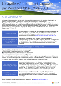 L`8 aprile 2014 termina il supporto per Windows XP e Office 2003