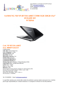 "samsung nb np-rv510-a08it t3500 3gb 320gb 15,6"" dvd"