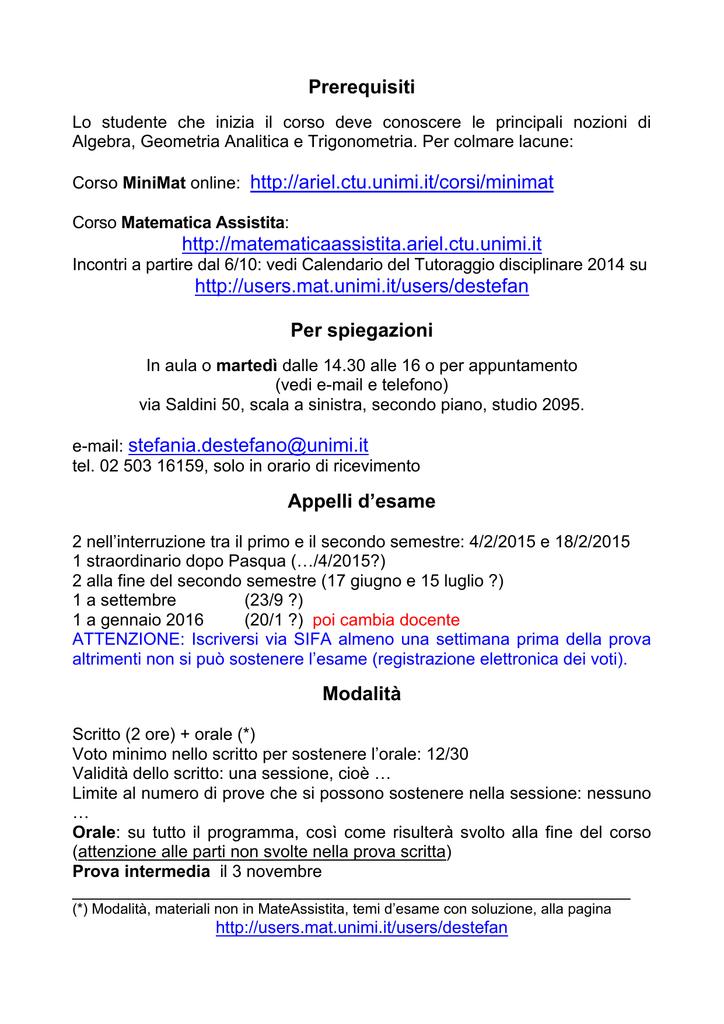 Calendario Unimi.Prerequisiti Corso Minimat Online Http Ariel Ctu Unimi It