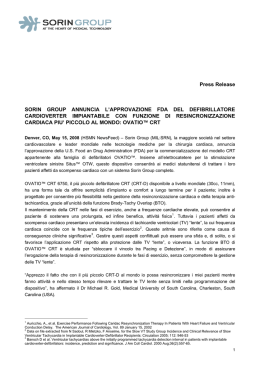 Press Release SORIN GROUP ANNUNCIA L`APPROVAZIONE FDA