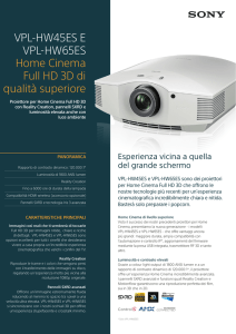 VPL-HW45ES E VPL-HW65ES Home Cinema Full HD 3D di qualità