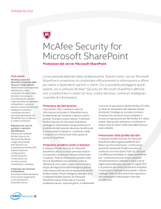 McAfee Security for Microsoft SharePoint Scheda Tecnica