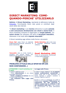DIRECT MARKETING: COME- QUANDO