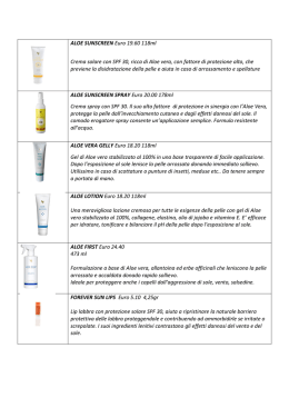 ALOE SUNSCREEN Euro 19.60 118ml Crema solare con SPF 30