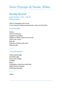 Sunday Brunch Menu - Dorchester Collection