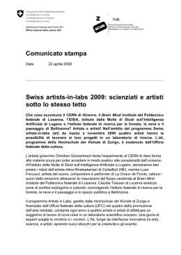 Comunicato stampa Swiss artists-in-labs 2009: scienziati e artisti