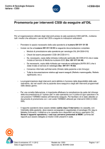 Promemoria per interventi CSSI da eseguire all`OIL