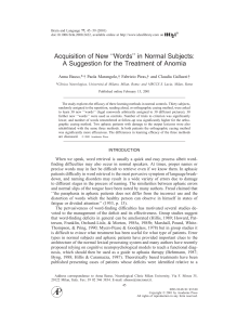 acquisition of new words in normal subjects: a suggestion for the treatment of anomia