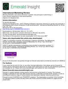 International Marketing Review-Relating Hofstede's masculinity dimension to gender role portrayals in advertising: A cross-cultural comparison of web advertisements