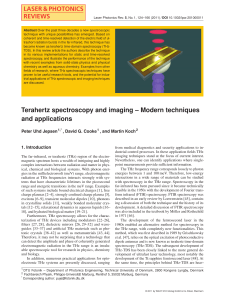 Jepsen, Cooke, Koch 2011 Terahertz spectroscopy and imaging – Modern techniques and applications E =
