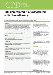 INFUSION RELATED RISKS ASSCOCIATED WITH CHEMOTHERAPY