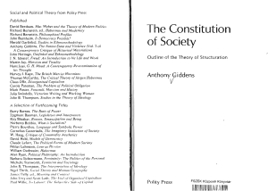 The Constitution of Society Outline of the Theory of Structuration by Anthony Giddens