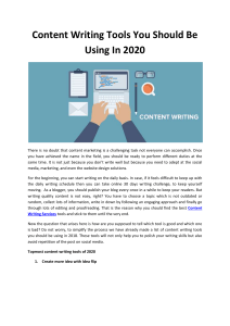 Content Writing Tools You Should Be Using In 2020