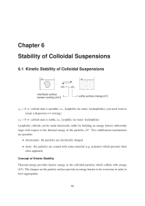 Study of colloidal suspensions