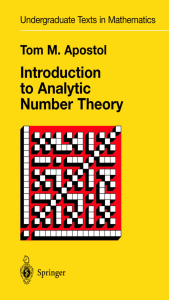Introduction to Analytic Number Theory - 353 Pag